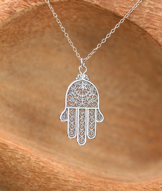 Hamsa necklace - silver hamsa charm - hand of god - amulet necklace - a filigree style sterling silver hamsa on a sterling silver chain