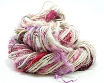 Bulky Yarn, Handspun Yarn, Artisan Yarn, Chunky Yarn, White Yarn, Burgundy, Textured Yarn, Corespun, Weaving Yarn, Knitting, Crochet - BUNNY