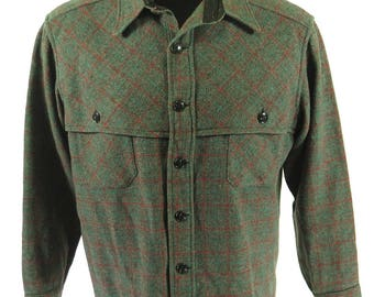 Vintage 30s Mackinaw Coat Mens 42 Wool Plaid Gray [H74D_1-11]