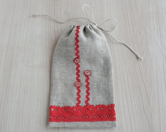 Tall narrow cloth gift bag with lace and button embellishment Makeup organizer Linen canvas Drawstring pouch