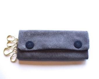 Leather key case, key holder, key pouch, Grey & Navy