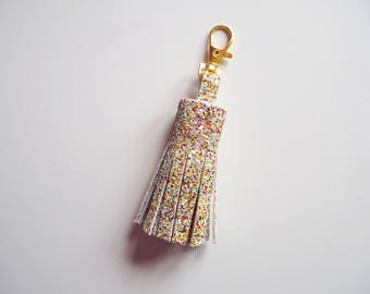 Pastel Glitter Tassel Keychain, Pastel Glitter Keyring, Sparkly Tassels, Pastel Rainbow Glitter Tassel Keyring, Glitter Tassels, Pastels,