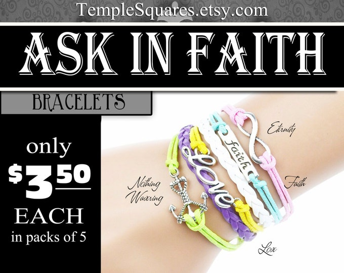 6 strand Bracelets - YW 2017 Ask of God Ask in Faith Young Women Theme Jewelry Charms New Beginnings, Missionary, Christmas, Birthday gifts