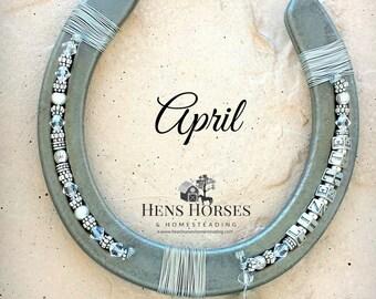 Horseshoe | Horse Décor | Horseshoe Décor | Personalized Horseshoe | April Clear Diamond Birthstone Horseshoe | Lucky Horseshoe | One Name
