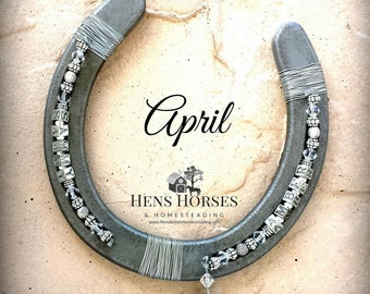 Personalized Horseshoe | Horse Décor | Horseshoe Décor | Horseshoe | April Clear Diamond Birthstone Horseshoe | Lucky Horseshoe | Two Names