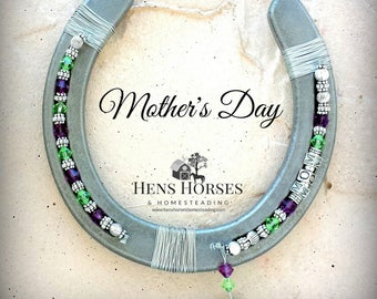 Horseshoe | Mother's Day | Mom | Mother's Day Mom Two Birthstone Horseshoe | Mother's Day Gift | Children's Birthstones | Horse Décor | Two