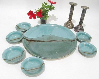 Passover Plate. Serving Tray and Dishes, Seder Plate, Tapas Dishes in Turquoise and Teal Dinnerware