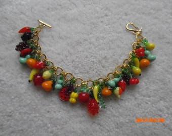 FRESHLY PICKED Glassblown FRUIT Charm Bracelet