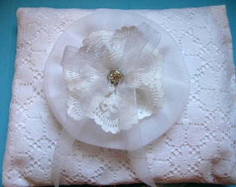 Ring bearer pillow, wedding ring pillows, white eyelet lace
