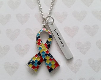 Personalized Autism Awareness Necklace - Autism Puzzle Necklace