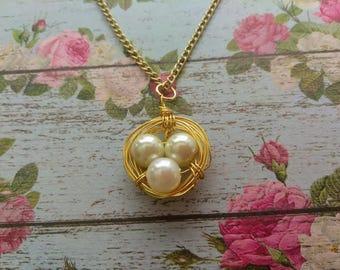 Bird Nest Necklace- Mother's Day Jewelry - Mom Necklace- Gold Nest