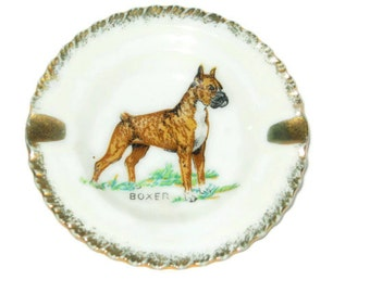 Vintage Boxer Dog Hand Painted Porcelain Ashtray - Made in Japan 1960's Figure Miniature Tobacciana Figurine Gold Trim