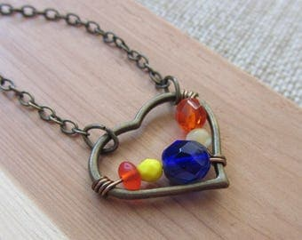 Yellow Orange and Blue Heart Necklace, Bright Colorful Necklace, Contrasting Colors