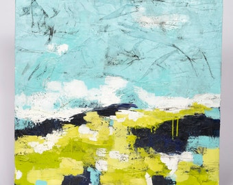 "Original Abstract Encaustic Landscape // ""Morning Commute 6"""