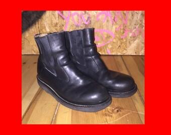 BOOTS black leather vtg foam sole EU 39