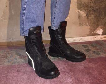 CYBER punk goth raver biker club kid leather boots air walk size EU 43