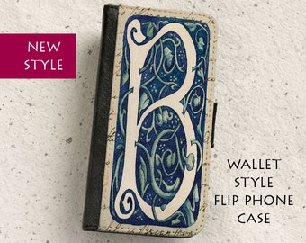 iPhone Case (all models) - William Morris - Letter B - Floral Design - Wallet flip case -  SamsungGalaxy S4,S5,S6,S7,S8,S8Plus,Note4,5