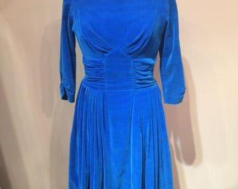 Indigo Velour 50s Dress