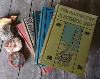 School readers and one youth novel of mischief and adventure - homeschool or books for decor - multi-color cloth bindings