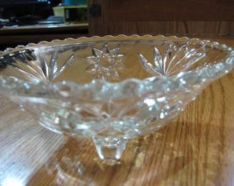 """Starburst Pressed Glass Footed Candy dish; serving bowl; Potpouri. Clear, heavy glass; classic star design; three feet. 6 1/2"""" x 2 1/2"""""""