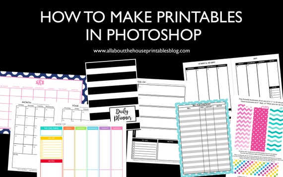 ECOURSE How to make printables in photoshop diy planner