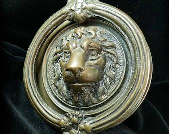 Antique Bronze Lion Door Knocker Antique Gothic Hardware Sculpture Door Knocker Door Fixtures