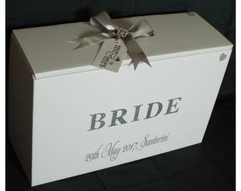 Wedding Dress Travel Box,Acid Free,Ph Neutral,Diamante Bride,Date and Location, choice of 4 colours.