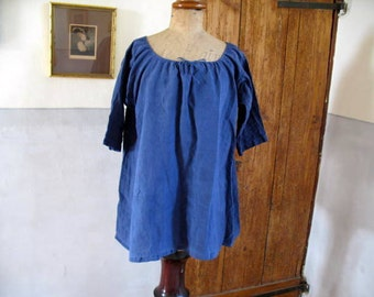 SALE - Antique French linen smock top dyed mid indigo. Monogrammed ZP (Z)