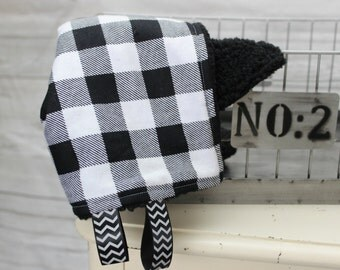 Plaid Lovey - Fluffy Lovey - Baby Gift Ideas - Neutral Baby Blanket - Tag Blanket - Plaid Tag Blanket - Cozy Lovey - Baby Tag Lovey