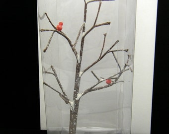 Dept 56 Snow Village Accessory Frosted Bare Branch Tree Cardinal Birds