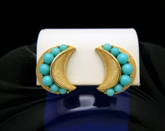 Crown Trifari Earrings Turquoise Lucite Beads Gold Tone Clip Ons
