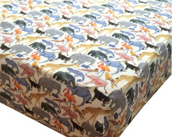 Liberty Print Fitted Sheet | Queue for the Zoo Yellow