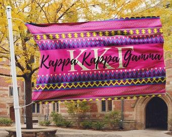 Kappa Kappa Gamma flag, Hot pink Aztec print, 3 x 5 feet Polyester mesh, Customizable Sorority gift, KKG letters Room decor