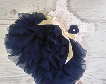 Newborn crochet dress, baby dress in ivory and navy sapphire tulle dress baby girl holiday dress, baby gifts, first birthday dress