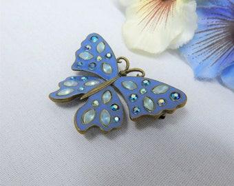 Avon Butterfly Brooch Blue Enamel and Aurora Borealis AB Rhinestones