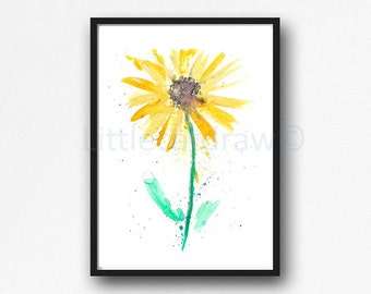 Sunflower Print Yellow Minimalist Art Watercolor Painting Art Print Abstract Floral Bedroom Wall Decor Print
