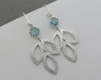 Silver Leaf Earrings, large silver leaf earrings, silver and crystal earrings, blue earrings, white and silver earrings, special occasion