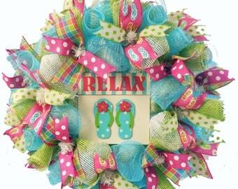 Relax Flip Flop Wreath