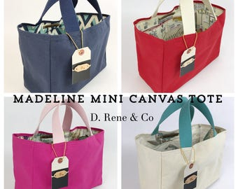 Madeline Mini Canvas Tote, Shopping Bag, Gift Bag, Grocery Tote, Canvas Bag, Lunch Bag