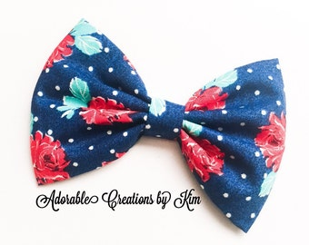 Floral bow rose bow rose hair bow polka dot bow navy bow blue bow flower bow red rose bow headband hair bow valentines day bow