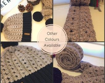 Crochet Merino Hat & scarf set - crochet hat - crochet scarf - hat and scarf set - merino set