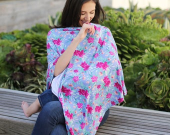 Periwinkle Floral Nursing Poncho Doubles as a Carseat Cover/ Full Coverage Nursing Cover