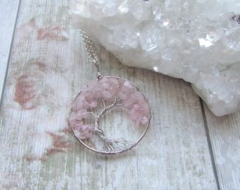 Offset Rose Quartz Gemstone Tree Of Life Pendant Necklace- Silver Plated Pink