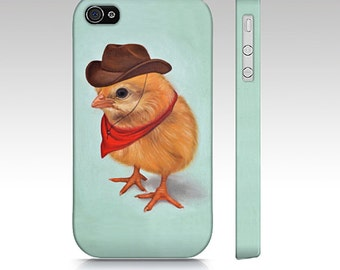 Chick phone case, cowboy chick case, chick mobile case, snap case, iPhone case, Samsung Galaxy case, animal device case,  chick slim case