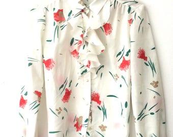 Vintage 70s Floral Ruffle Secretary Blouse