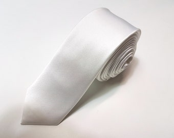 SKINNY Silk Tie in White