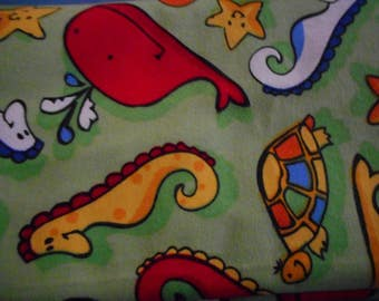SEACREATURES - Baby Receiving blanket LARGE appx 42 in x 42 in