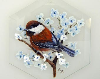 Hand Painted Glass Ornament - Chestnut-backed Chickadee