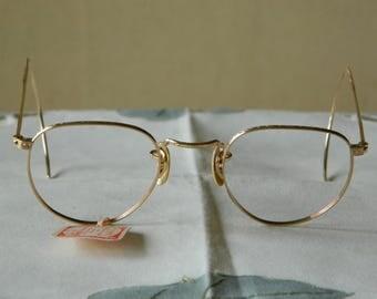 True Vintage rare HIBO Perimetric American Optical Ful Vue 1/10-12 K GF Artcraft 42 mm.Eyeglasses Frame.Made in the USA.30's. Nos. Exc*****