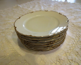 8 Haviland Limoges Dessert/Salad Plates White w/Gold Rim